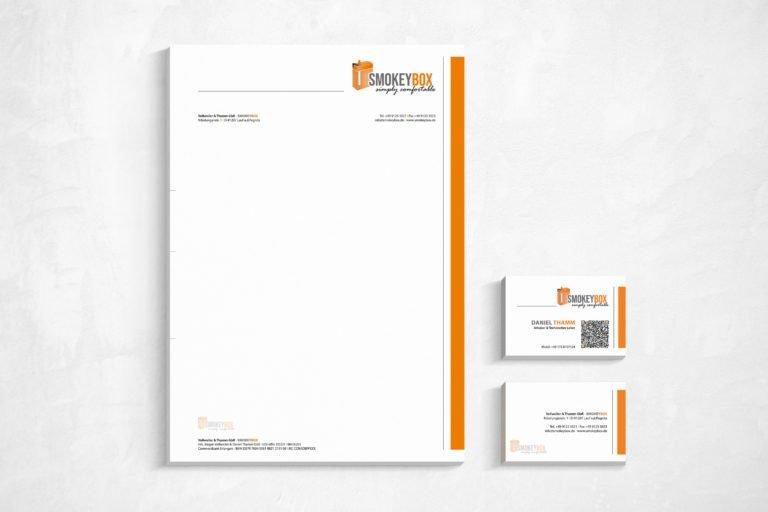 Geschäftspapierausstattung und Logogestaltung für SMOKEYBOX
