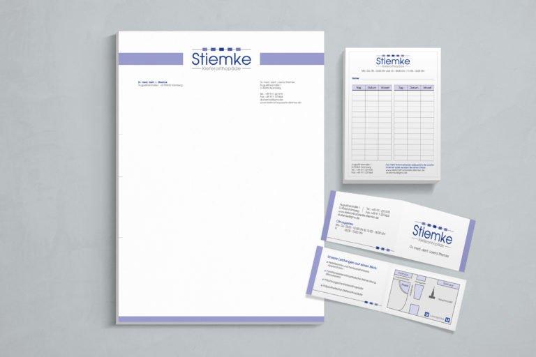 Geschäftspapierausstattung und Logogestaltung für Stiemke Kieferorthopäde