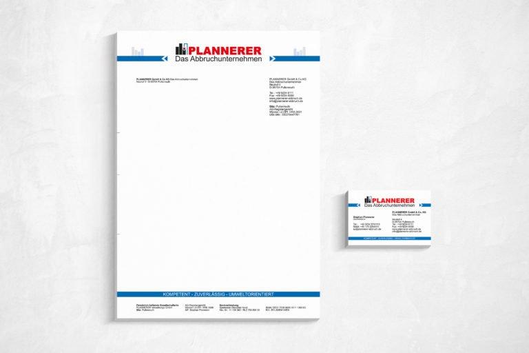Geschäftspapierausstattung für Plannerer das Abbruchunternehmen