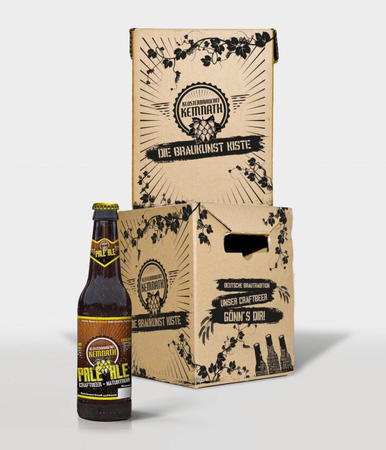 Gestaltung einer Bierkiste für den Postversand mit Etikett für Kemnath Klosterbrauerei