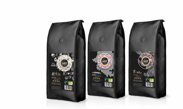 Gestaltung unterschiedlicher Produkt-Etiketten für CR - Coffee and Relax